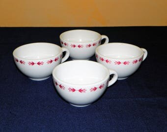Set of 4 Cups of Shenango China Restaurant Red Laurentian, 4 Pieces, (5 Sets Available)