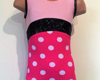 SALE!!! 20% OFF! Size 4T Ready to Ship. Pink Polka Dots Gymnastics Dance Leotard with Open Back. Toddlers Girls Gymnastics Leotard.