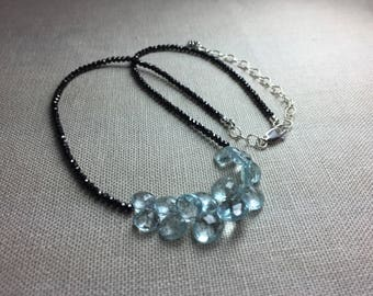 Black Spinel Necklace with Aquamarine Briolettes in Sterling Silver