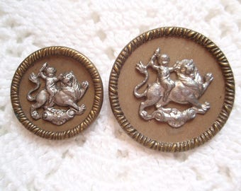 2 Antique Buttons Pictorial Satyr on Lion Victorian Turn of the Century Vintage Clothing Mythology