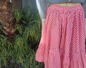 Reserved Yesenia gingham Red Checkered full skirt square dance skirt by Jeansvintagecloset on Etsy