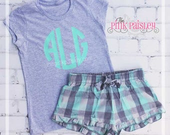 Ladies Monogrammed Pajama Set | Bitty Boxers |Slumber Party | Tween Gift | Gift for Her