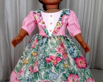 1812 - 1815 Afternoon Stroll Designer Doll Dress And Doll Pantaloons / 18 Inch Doll Clothes / Doll Accessories / American Girl Doll -1092