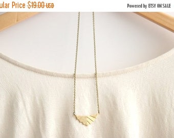 CHRISTMAS in JULY SALE Golden Brass Geometric Necklace //  Bohemian Necklace  // Tribal Necklace // Rustic Wedding // Long Gold Necklace
