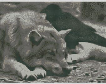 Wolf Dreams Wolf and Raven Cross Stitch Chart