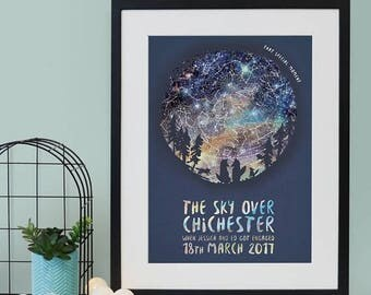 SUMMER SALE Family Of Wolves Star Map Print - New Baby Gift - Mother's Day Gift - Constellation Print - Star Chart - Woodland Animals - Nurs