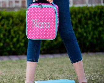 Monogrammed Hot Pink and Mint Dottie Lunch Box; Back to School; Great for Girls