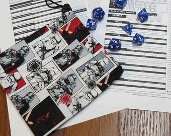 Star Wars  Force Awakens Cotton Dice Bag Includes Polyhedral Dice Set of Your Choice
