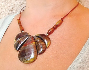 Iron Tiger Eye Pendant Necklace. Five pieces of gem iron tiger eye pendant. Tiger eye Statement Necklace.