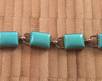 Vintage Navajo Sawtooth Bezel Set Rectangle Turquoise and Sterling Silver Signed Bracelet