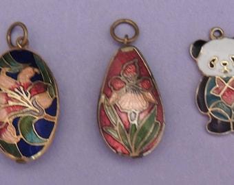 Set of 3 Cloissone Pendant Charms / Panda Bear Charm / Iris Charm / Floral Cloisonne Charm / Vintage Cloisonne Pendant Bracelet Charms