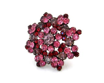 Vintage 1960s JULIANA Pink, Purple, Red Rhinestone Brooch | DeLizza & Elster Pin | 60s Costume Jewelry