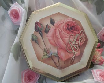 Beautiful Octagon Shabby Chic Pink Roses Motif Tin - Collectible - Vintage