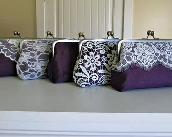 SALE, 20% Off, Mis Matched Bridesmaid Clutches Set of 5 Purple,Bridal Accessories,Wedding Clutch,Lace Clutch,Bridesmaid Clutch