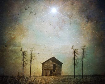 Guided - astrology star photo, barn abandoned landscape spooky photo, home decor, night sky art Ontario, surreal dramatic spiritual angel