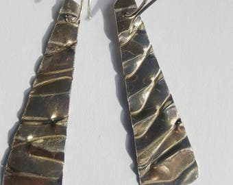 Oxidized Sterling Silver Triangular Earrings, blackened silver earrings, modern earrings, dangle earrings, contemporary  earrings