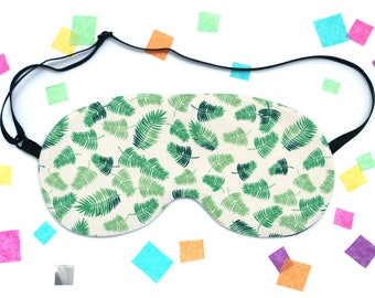 Palm Leaf Sleep Mask, Tropical Eye Mask, Plant Eye Mask, Silk Back, UK Gift