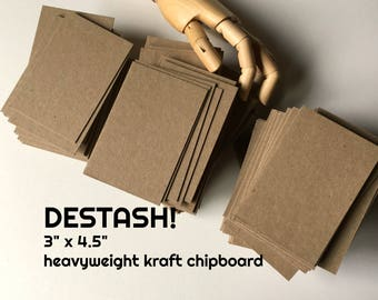 """DESTASH . 150 Heavyweight Kraft Chipboard Cards 3"""" x 4.5"""" Headband Cards Hair Tie Cards Clearance Inventory Reduction Sale Discounted Price"""