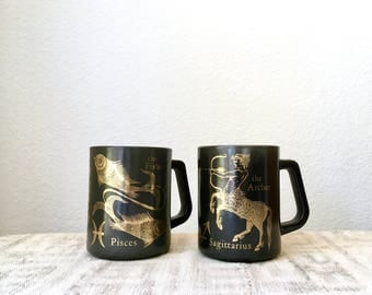 Vintage Federal Milk Glass Zodiac Sign Mugs, Sagittarius and Pisces, Set of Two