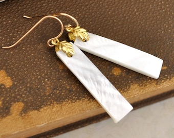 gold filled earrings, shell bar earrings, leaf earrings, gold leaf, simple bar earrings, white bar, everyday wear