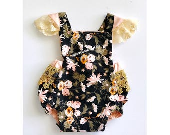 On sale! Rustic floral lace romper. Black coral, peach, floral and gold boho cake smash, first birthday