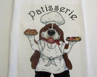 """Basset Hound Flour Sack/Tea Towel - """"Patisserie"""" Basset Chef"""