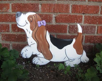 """Hand Painted Basset Hound Yard Art - """"Little Belle"""" with Purple Bow - Tri-color Basset"""