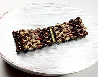 Earthtones Woven Boho Bracelet, Mocha Glass Bracelet, Picasso Brown Bracelet, Glass Woven Bracelet
