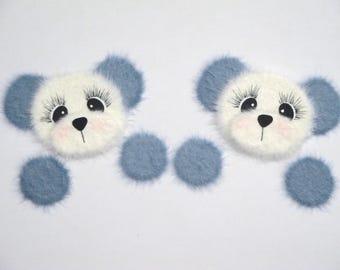 Blue Panda Bear Peekers TEAR BEARS Scrapbook Page Paper Piecings Card