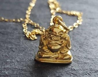 Gold filled buddha necklace, gold and sterling silver buddha, gold buddha chain, gold spiritual necklace  gold buddhist jewelry on chain