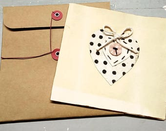 Large Handmade card, primitive handmade card, collage card, heart card, rustic, love card, country cottage, recycled, button string envelope