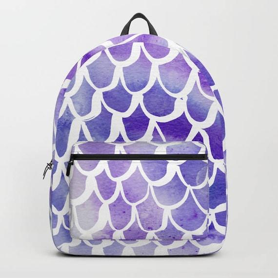 Purple Backpack Purple bookbag Mermaid backpack Mermaid bookbag Kids backpack Watercolor backpack Watercolor school bag Scallop backpack