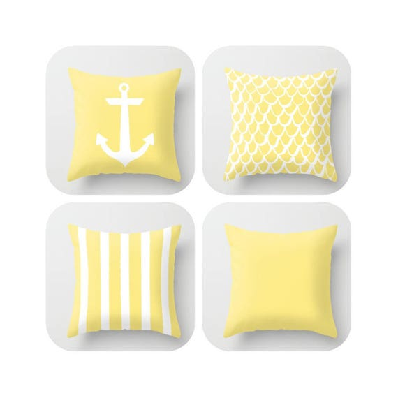 Buttercup Yellow Throw Pillow . Mermaid Pillow . Anchor Pillow . Coastal Pillow . Striped Pillow . Yellow cushion  Throw 14 16 18 20 inch