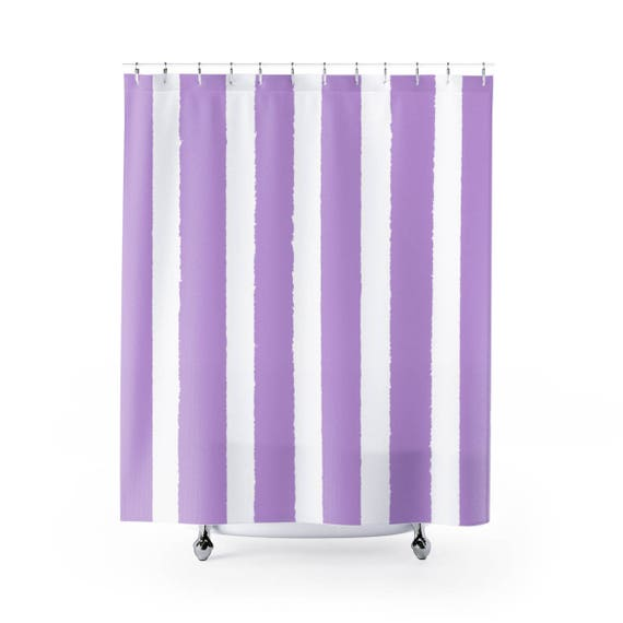 Lavender Shower Curtain . Lavender Striped Shower Curtain . Modern Amethyst Shower Curtain . Shower Curtain . Lilac Striped Shower Curtain