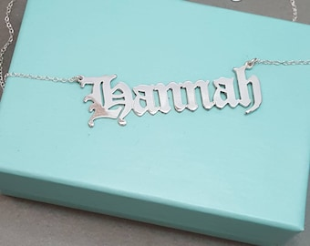 Old English Style Name Necklace Double thick silver any name necklace up to 10 letters