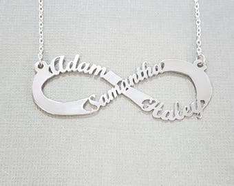Infinity Necklace Personalized, Children Names Mom Infinity Necklace, Custom Infinity Name Necklace, Infinity Name Necklace