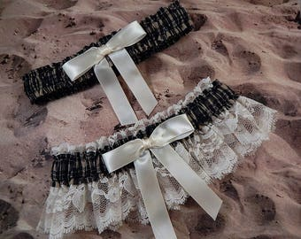 Navy Blue Plaid Ivory bow Ivory Lace Wedding Bridal Garter Toss Set