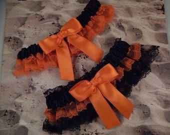 Orange Black Satin Black and orange Lace Halloween Wedding Bridal Garter Toss Set