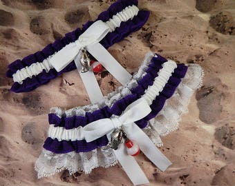 Fishing Purple Woven Ribbon White Twill White lace Fish Bobber Charm Wedding Bridal Garter Toss Set