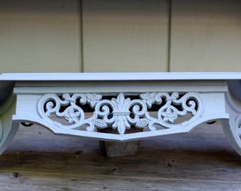 Vintage Ornate Wall Shelf Upcycled Shabby Chic, French Gray, Country, Cottage, Farmhouse