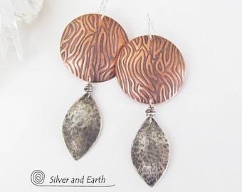 Copper & Silver Earrings, Sterling Silver, Mixed Metal Earrings, Bold Contemporary Modern Earrings, Artisan Handmade Metalwork Jewelry