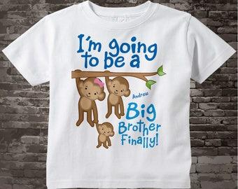 Big Brother Finally t-shirt or Onesie Bodysuit, Monkey Big Brother Personalized Big Brother with Three Sibling Monkeys Tee Shirt 03042015e
