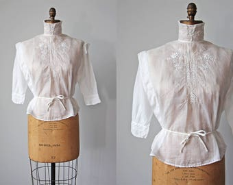 Antique Edwardian Blouse - Vintage 1910s Cotton Embroidered Eyelet White Work Top w High Collar M - Snow Castle Blouse