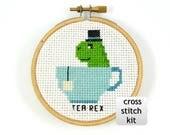 Tea rex cross stitch kit, funny cross stitch kit, diy kit, diy cross stitch, tea cross stitch kit, t rex cross stitch kit, mini cross stitch