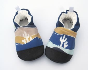 Organic Vegan Desert Saguaro / non-slip soft sole baby shoes / made to order / babies toddlers preschool