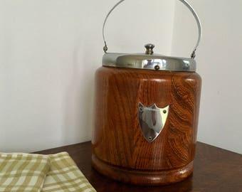 Vintage Oak Wood Ceramic Lined with Chrome Lid Ice Bucket Barrel 1950's Mid Century
