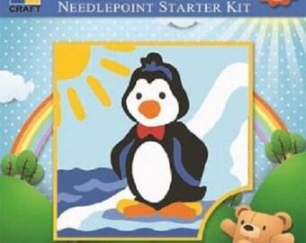 Childrens Starter Needlepoint Kit, Dancing Penguin from Euro Craft. K01-044, learner tapestry kit, penguin kit, tapestry kit