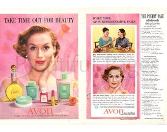 1956 Avon Cosmetics Vintage Ad, 1950's Beauty, Retro Beauty, 1950's Avon, Advertising Art, Avon Lady, 1950's Make-Up, Cotillion Cologne.