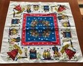 Vintage Patriotic Linen Red White Blue Decor Star Stripes Linen Tea Towel Boston Colonial Patriot American Kitchen Decor Hand Towel Kitsch