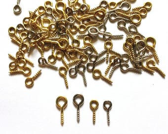 100 pcs Mix screw eyes pin findings for clay jewelry, resin, bead, plastic etc